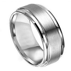 Titanium Ring Flat Brushed Center Polished Shiny Edge