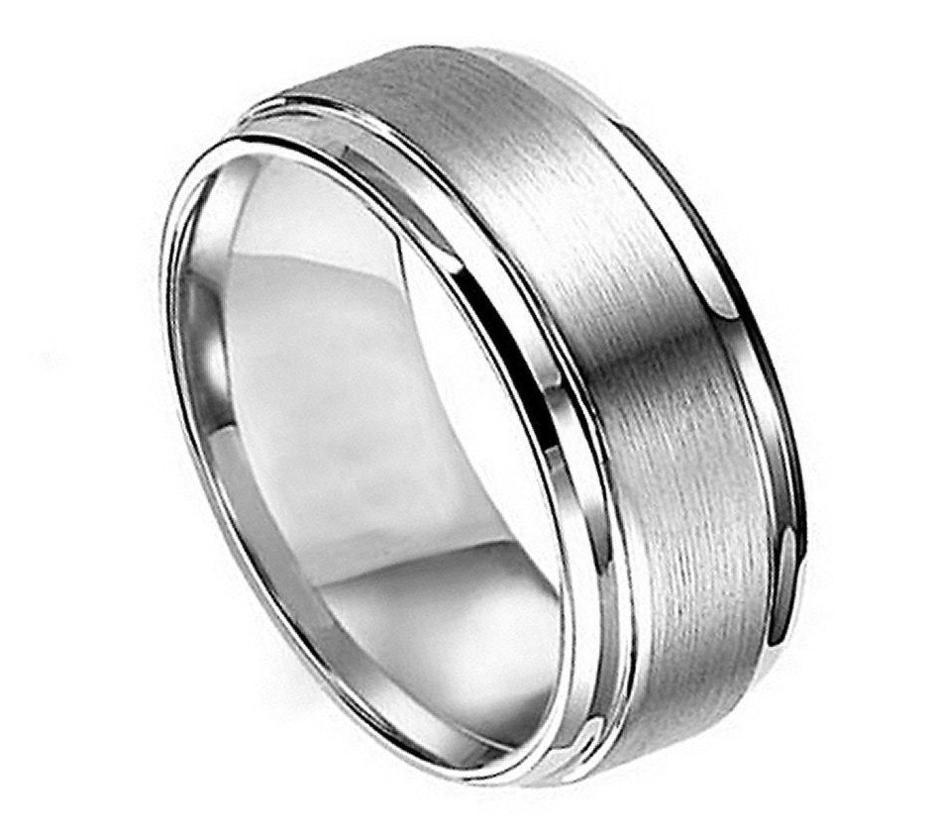 Titanium Ring Flat Brushed Center Polished Shiny Edge