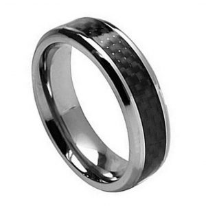 Titanium Ring with Black Carbon Fiber Inlay