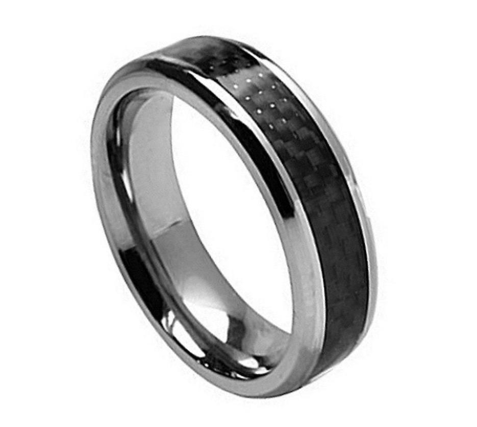 Carbon Fiber Diamontrigue Jewelry: Titanium Ring With Black Carbon Fiber Inlay 1