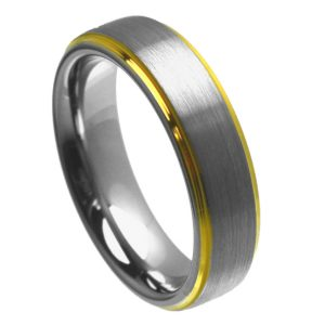 Brushed Center Yellow Gold Plated High Polish Stepped Edge