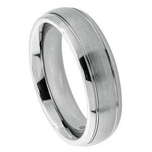 Titanium Ring Domed Brushed Center High Polish Ridged Edge