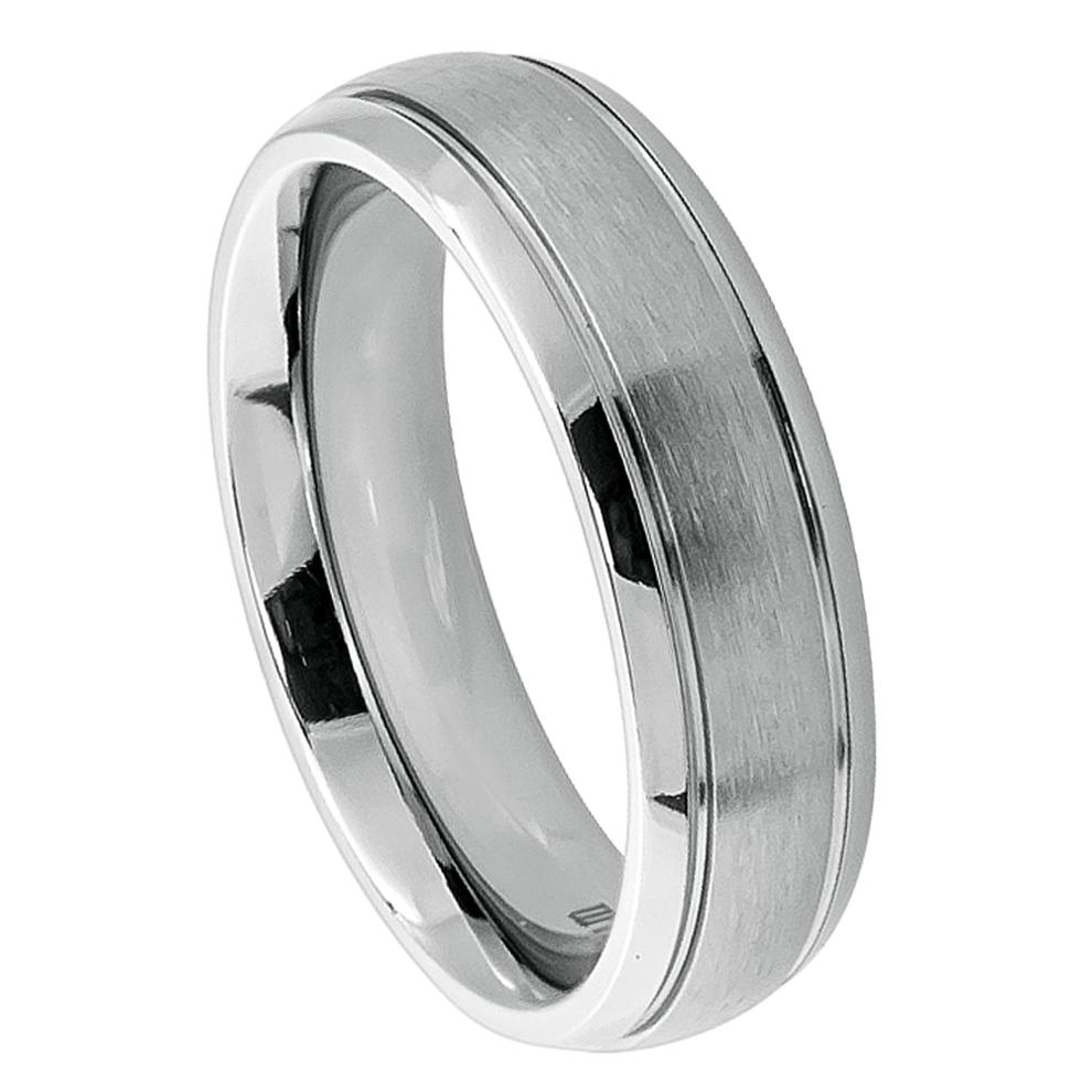 Titanium Ring Domed Brushed Center High Polish Ridged Edge
