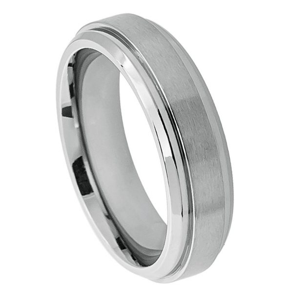 Titanium Ring Raised Brushed Center Stepped Edge