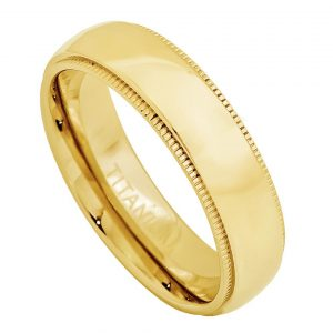 Yellow Gold Plated Domed Titanium Ring with Milgrain Womans