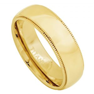 Yellow Gold Plated Domed Titanium Ring with Milgrain