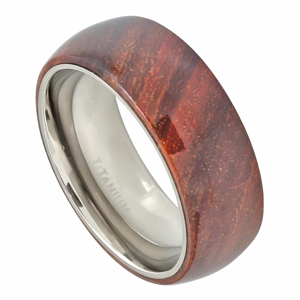 Domed Titanium Ring with Hawaiian Koa Wood Inlay