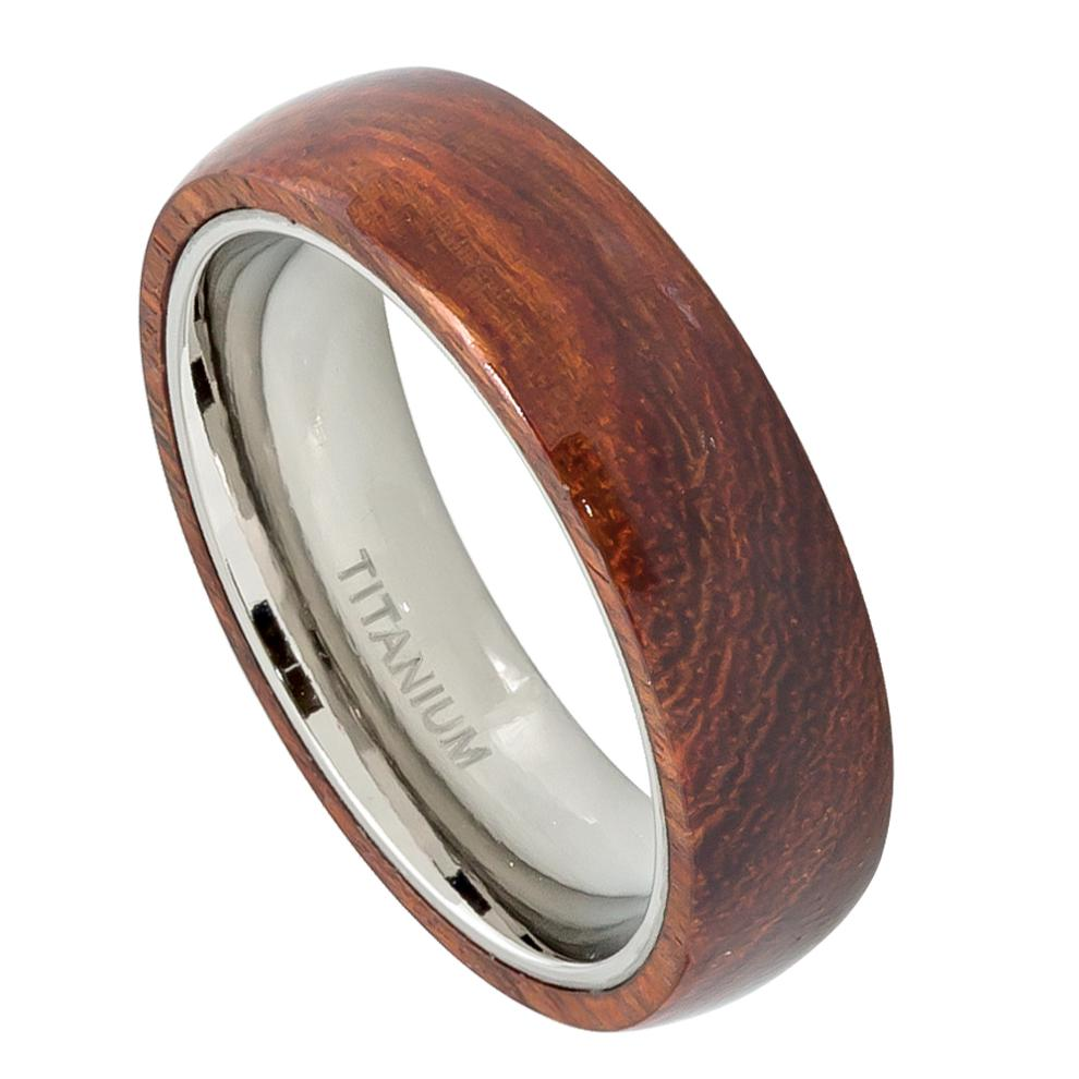 Domed Titanium Ring with Hawaiian Koa Wood Inlay Womans