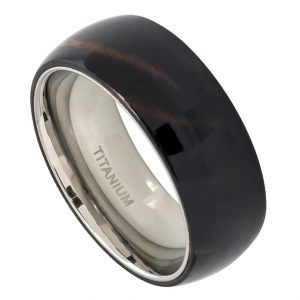 Domed Titanium Ring with African Black Wood Inlay