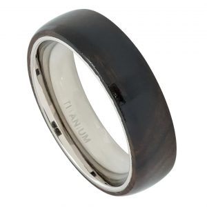 Domed Titanium Ring with African Black Wood Inlay Womans