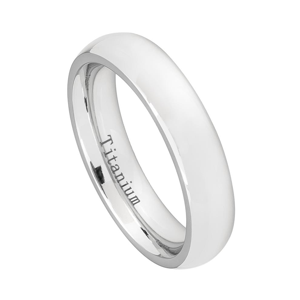 White Titanium Classic Domed Ring Womans