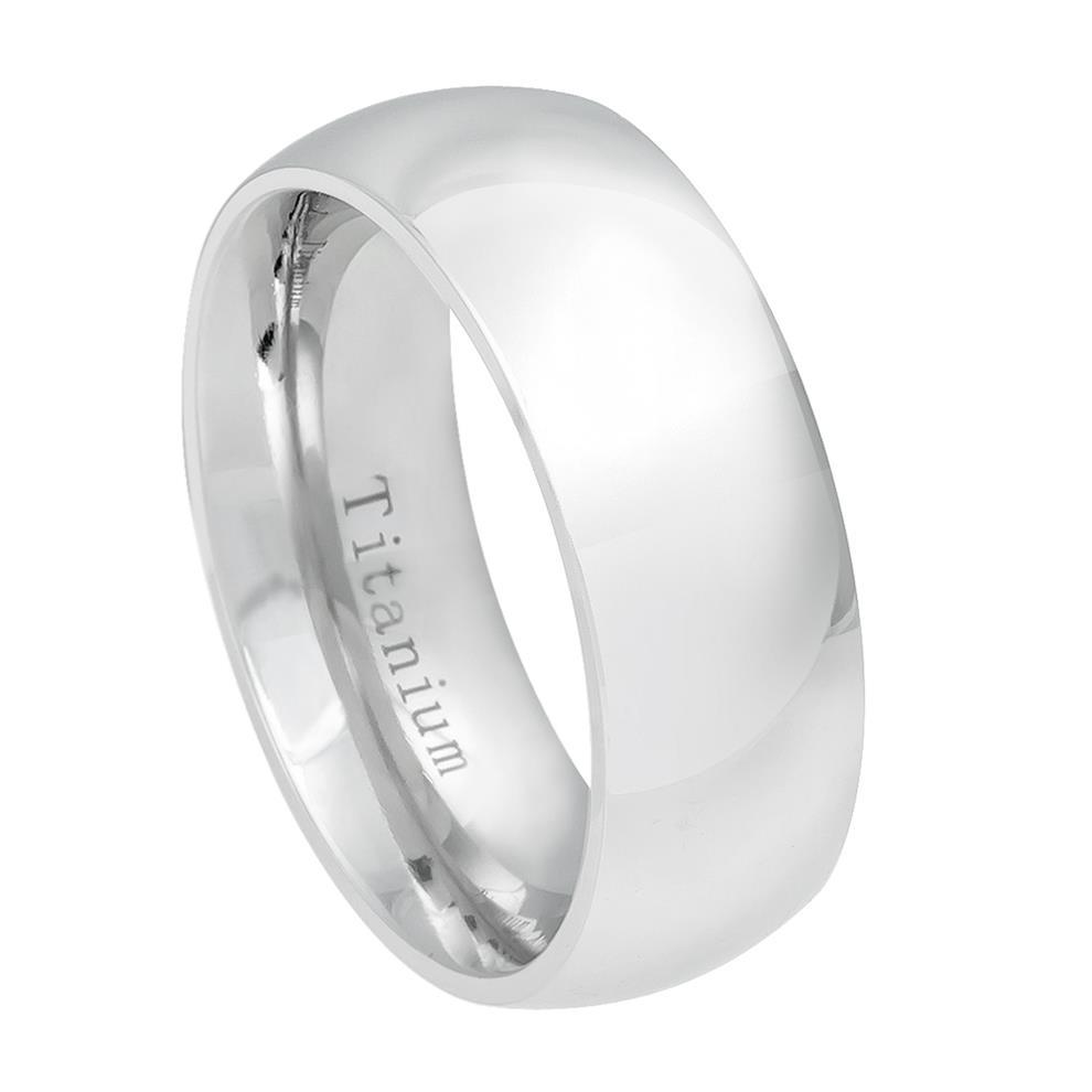 White Titanium Classic Domed Ring