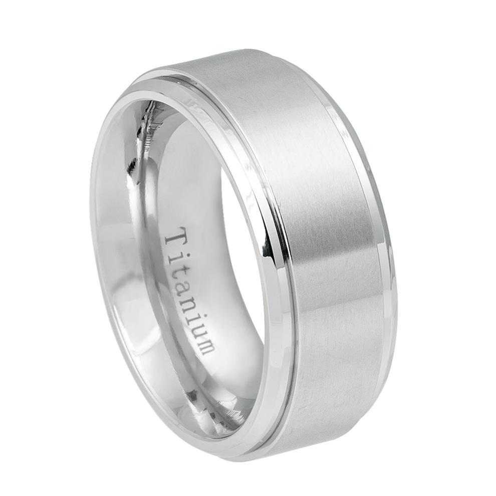 White Titanium Ring Brushed Center, Shiny Step Edge