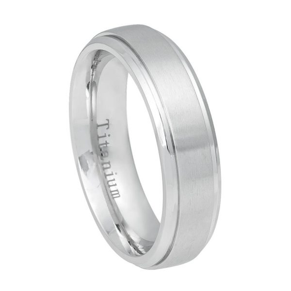 White Titanium Ring Brushed Center, Shiny Step Edge Womans
