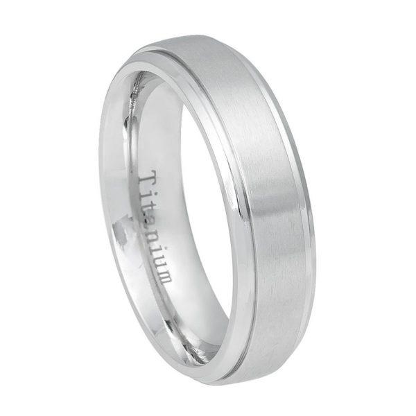 White Titanium Ring Brushed Center, Shiny Step Edge Womans