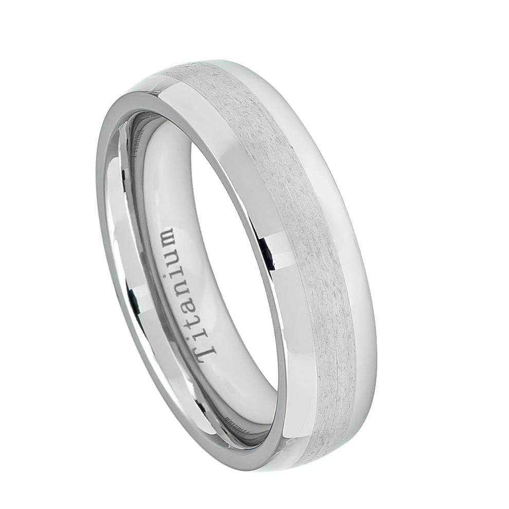 White Titanium Ring High Polished with Brushed Center Womans