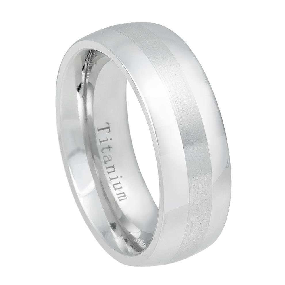 White Titanium Ring High Polished with Brushed Center