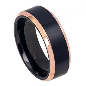 Two-Tone Black IP & Rose Gold IP Brushed Center Shiny Beveled Edge Titanium Ring