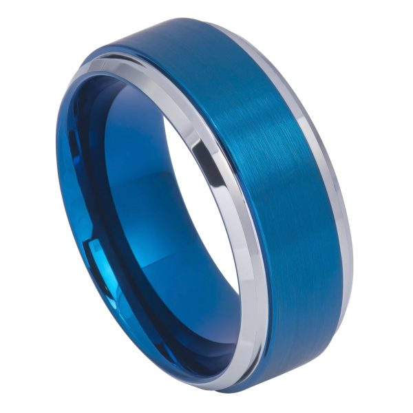 Blue IP Brushed Center High Polish Stepped/Beveled Edge